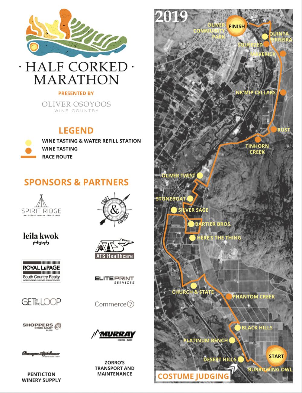 2019 Half Corked Marathon Route Map